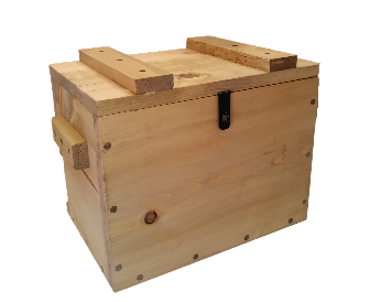 Rustic Wooden Ammo Box - Cartridge Gun Accessories Storage Crate - Hazard Powder Label