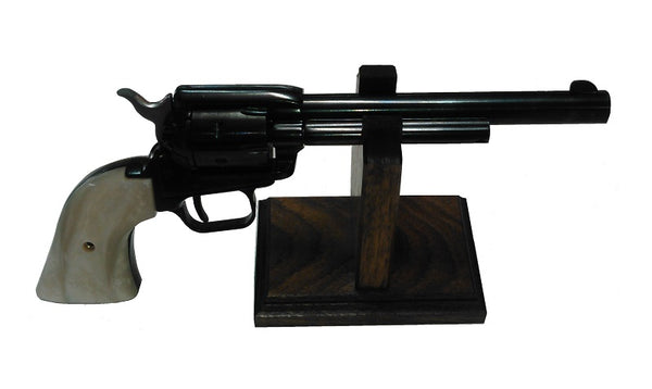 Walnut Wooden Gun Rack Revolver Handgun Pistol Stand Display - Plain Base