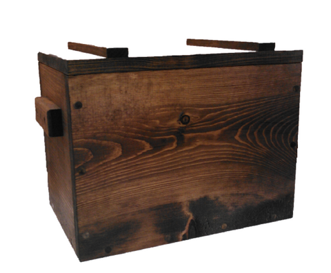 Rustic Wooden Ammo Box - Gun Accessories Cartridge Storage Crate
