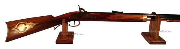 Oak Wooden Gun Rack Stand Rifle Shotgun Two Piece Table Top Mantle Display