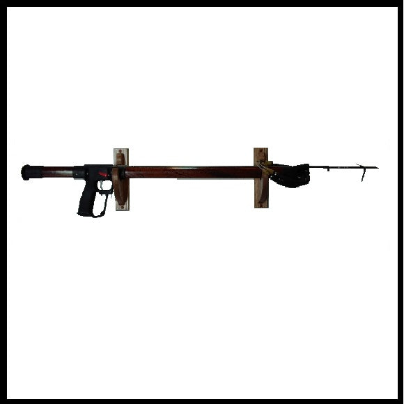 Rustic Wooden Speargun Holder Fishing Rod Wall Display