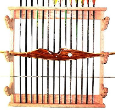 Pine Wood Bow Rack & Arrows Archery Compound or Recurve Wall Display