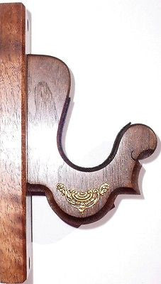 Walnut Wooden Gun Rack Hangers Rifle Shotgun French Wall Display -Brass