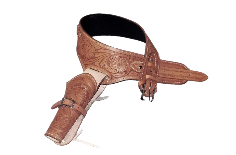 Western Tooled Leather Gun Holster .38/357 Caliber - Choice of Color