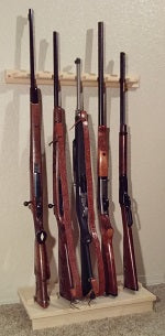 Pine Wooden 5 Place Vertical Closet Gun Rack Rifles Shotguns Storage