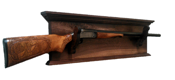 Walnut Wooden Gun Rack Antique Rifle Shotgun Decorative Wall Display