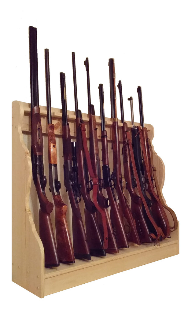 Pine Wooden Vertical Gun Rack 10 Place Long Gun Display
