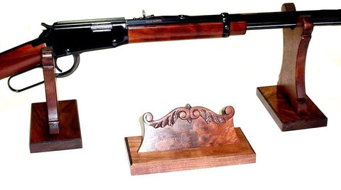 Walnut Wood Gun Rack Stand & Carved Name Holder - Rifle Shotgun Lever