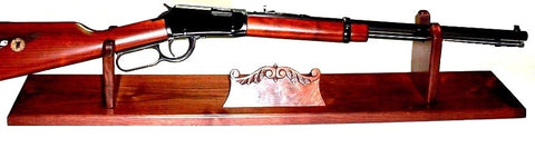 Walnut Wood Gun Rack Stand Rifle Shotgun Display & Carved Name Holder