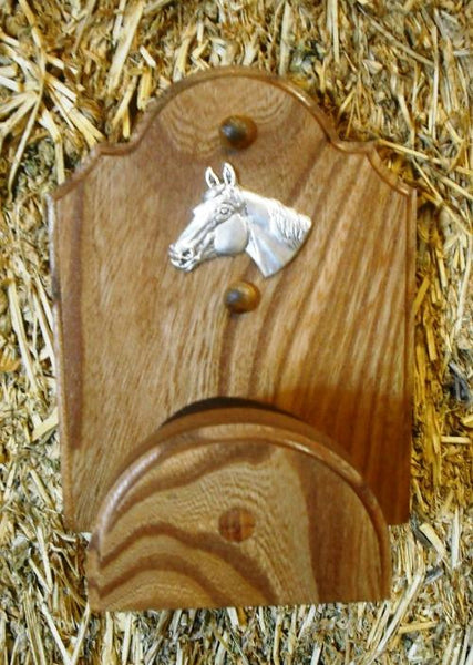 Finished Oak Wooden Bridle Rack - Stable Hanger - Equestrian Tack Wall Hook
