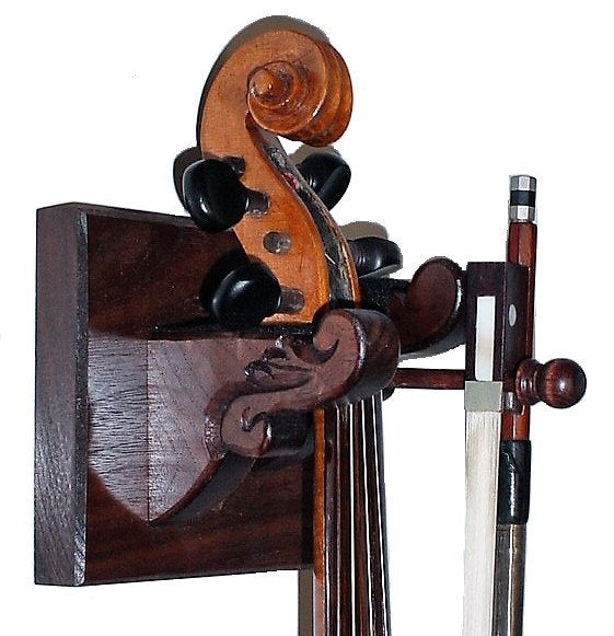 Hand Carved Walnut Wooden Violin & Bow Hanger Wall Mount Display