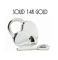 14K WHITE GOLD Functional Working Heart Shape Padlock Lock & One Key BDSM Slave Sub Bondage Collar