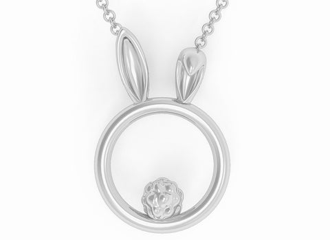 Solid 925 Sterling Silver Bunny Rabbit O Ring BDSM Day Collar