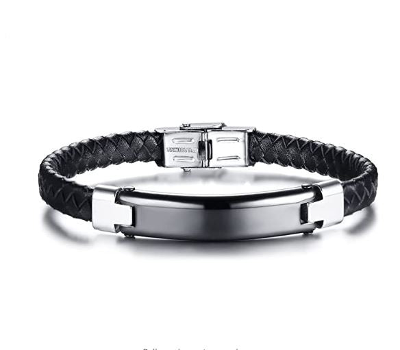 Custom Engraved Dominant Black Coated 316L Surgical Stainless Steel & High Grade Leather Bracelet
