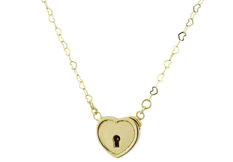 Hearts In Line Solid 14K Gold Locking BDSM Day Collar