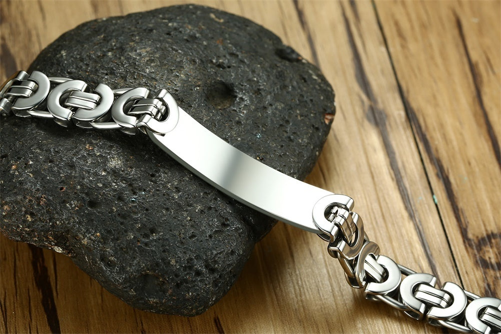 Custom Engraving Dominant High Quality 316L  Surgical Stainless Steel  Rustic High Quality BDSM Master Bracelet