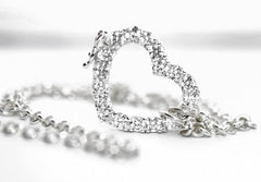 Solid 925 Sterling Silver CZ Brilliant Heart BDSM Day Collar