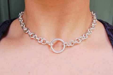 Heavy O-Ring Cable Solid 925 Sterling BDSM Day Collar