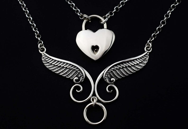 Winged O ring  925 Sterling BDSM Day Collar