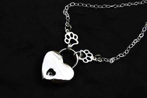 Solid 925 Sterling Silver Puppy Paws BDSM Day Collar