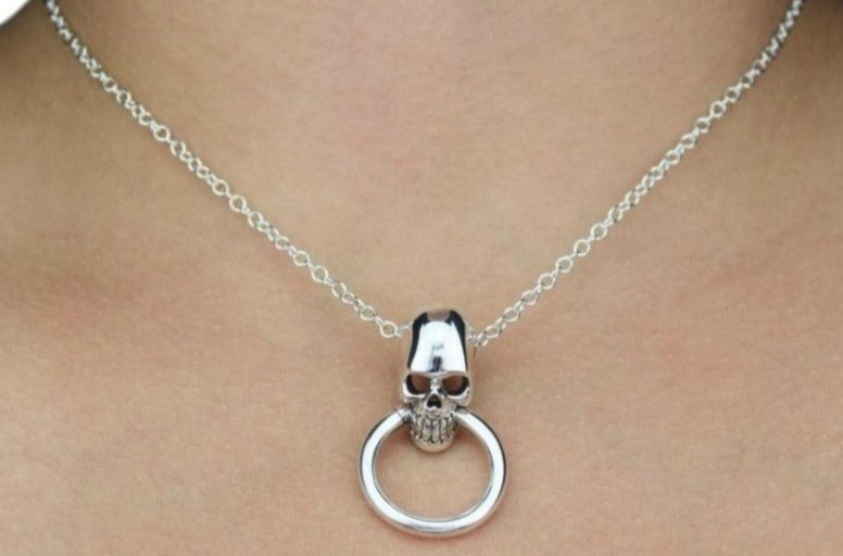 Skull O Ring Solid 925 Sterling Silver Day Collar