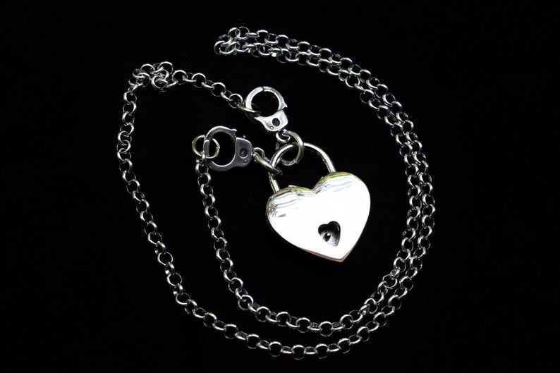 Hand Cuffs Solid 925 Sterling Silver BDSM Day Collar