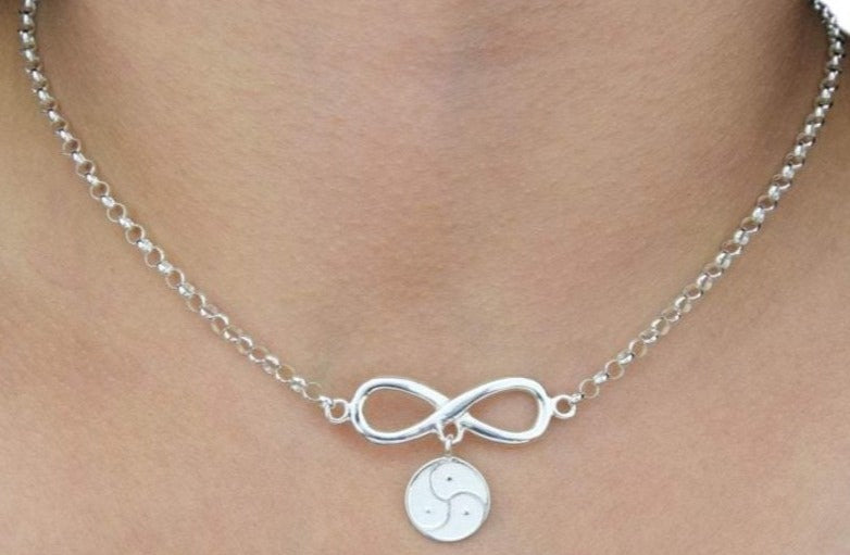 Infinity with Triskelion Solid 925 Sterling Silver Day Collar