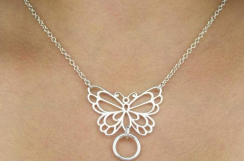 Butterfly O Ring Solid 925 Sterling Silver Day Collar
