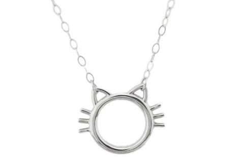 Kitty w/Whiskers Solid 925 Sterling Silver BDSM Day Collar