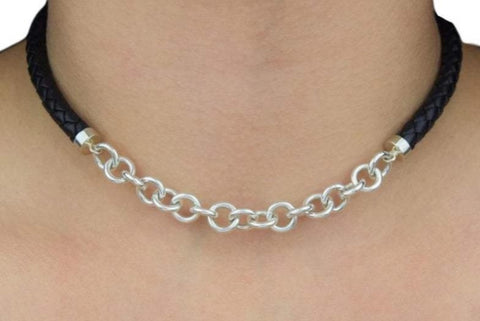 High Grade Leather and Solid 925 Sterling Silver Day Collar
