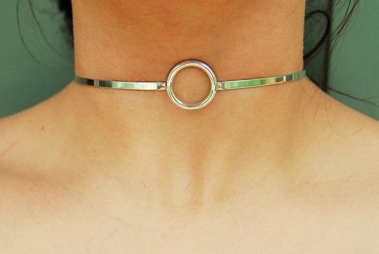 Solid 925 Sterling Silver O Ring BDSM Cuff Collar