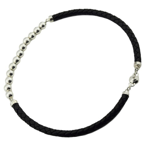 High Grade Leather and Solid 925 Sterling Silver Bead Day Collar