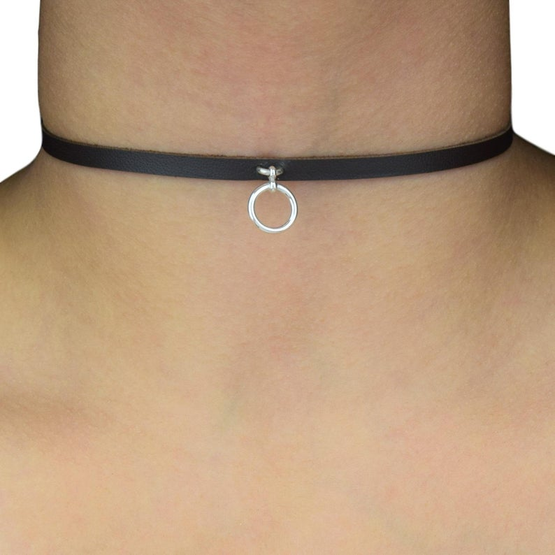 High Grade Leather O ring Solid 925 Sterling Silver BDSM Day Collar