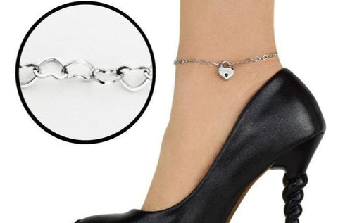 316L Surgical Stainless Steel Micro Hearts BDSM Ankle Day Collar