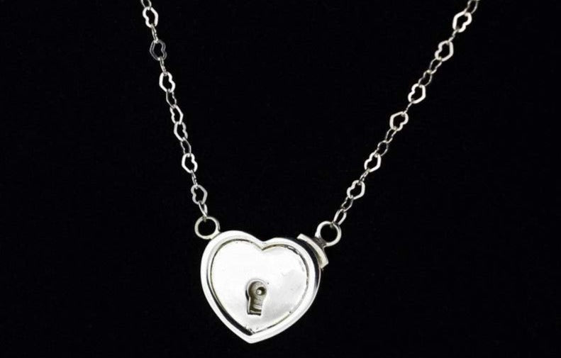 Solid 925 Sterling Silver In Line Heart Lock BDSM Day Collar
