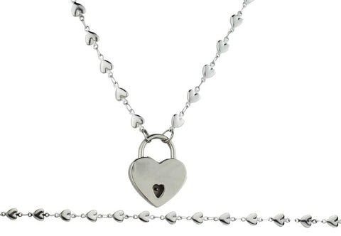 316L Surgical Stainless Steel Solid Heart BDSM Day Collar