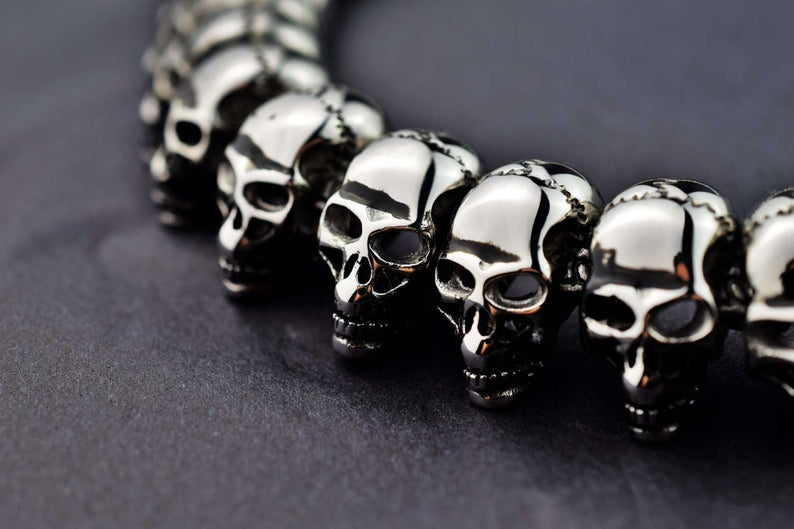 316L Surgical Stainless Steel Very Heavy Max Skulls BDSM Day Collar