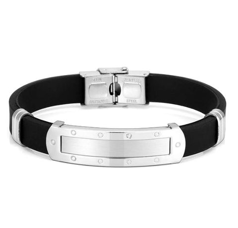 Custom Engraving Dominant High Quality 316L  Surgical Stainless Steel  and Silica High Quality BDSM Master Bracelet