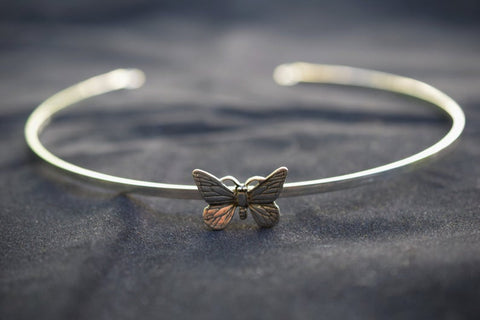 Solid 925 Sterling Silver BDSM Micro Butterfly Cuff Collar