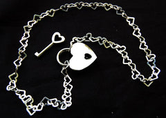Solid 925 Sterling Silver Large Heart Link BDSM Day Collar