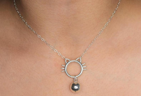 Solid 925 Sterling Silver BDSM O-Ring Kitty w/Whiskers & Bell Day Collar