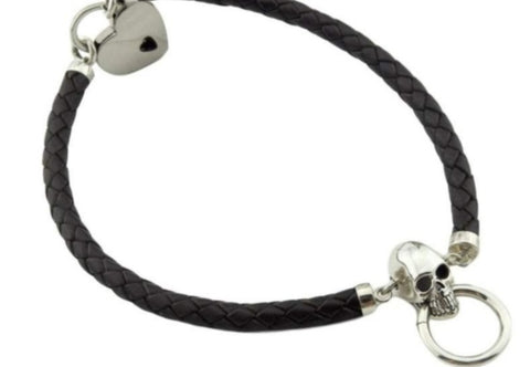 High Grade Leather and Solid 925 Sterling Silver Skull O Ring BDSM Day Collar
