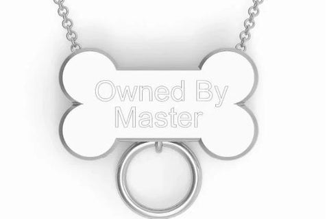 "Puppy Play Custom Engraved Bone Very Heavy & Thick Locking BDSM ""O"" Ring 925 Sterling Silver Hypoallergenic Slave Bondage Sub Necklace Day Collar & Free Lock"
