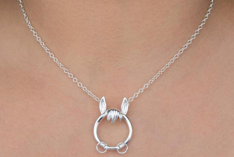 Solid 925 Sterling Silver Pet Horse O Ring BDSM Day Collar