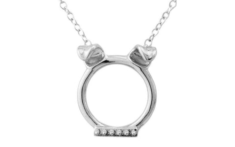 Solid 925 Sterling Silver Pet Dog Doggie w/Stud Collar O Ring BDSM Day Collar
