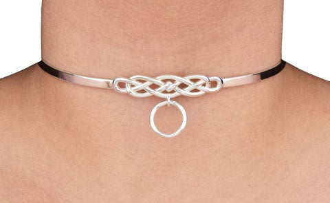 Celtic Knot O Ring Solid 925 Sterling Silver BDSM Cuff Collar (Mini 24/7 Version)