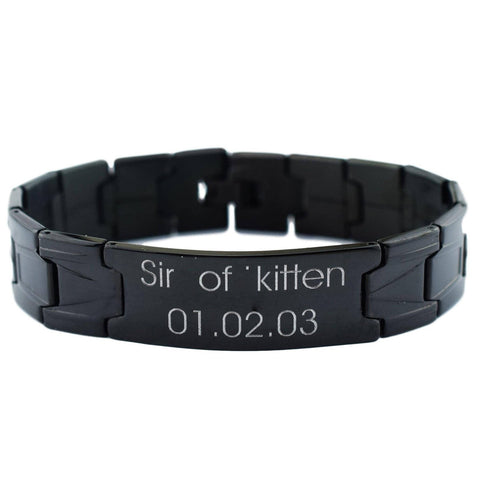 Custom Engraving Dominant High Quality 316L Black Coated Surgical Stainless Steel High Quality BDSM Master Bracelet
