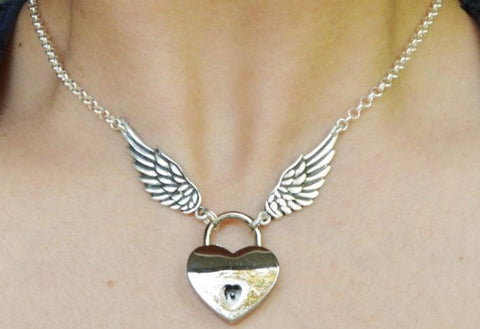 Fancy Angle Wings Solid 925 Sterling Silver BDSM Day Collar