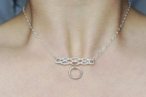Celtic Knot O- Ring 925 Sterling BDSM Day Collar