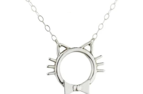 Kitty W/Bow & Whiskers 925 Sterling BDSM Day Collar